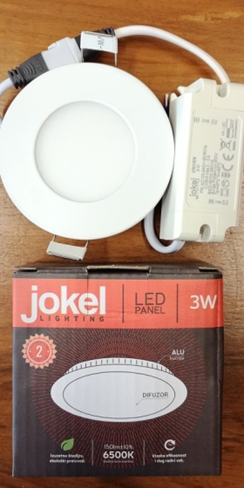 AL1007 LED panel 3W ugradni okrugli AC220-240V 85×13mm/75mm 6500K JOKEL